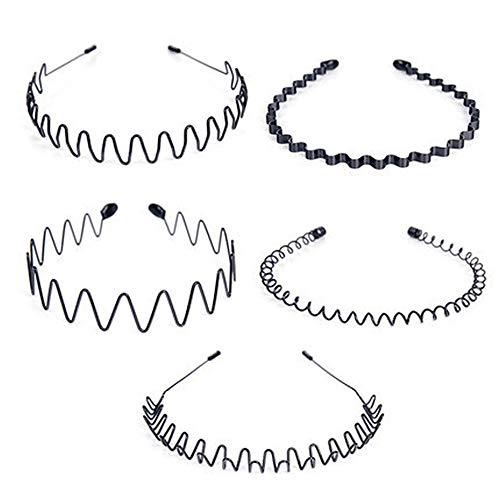 Duyuen 5Pcs Metal Hair Band Negro, Unisex Black Hair Bandas Spring Wave Hair Band, para hombres Diadema Clips de Aro Mujeres Accesorios(Negro)