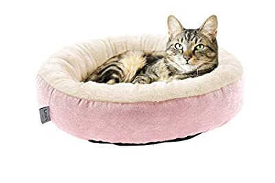 Love's cabin Round Donut Cat and Dog Cushion Bed, 20in Pet Bed for Cats or Small Dogs, Anti-Slip & Water-Resistant Bottom, Super Soft Durable Fabric Pet beds, Washable Luxury Cat & Dog Bed Pink