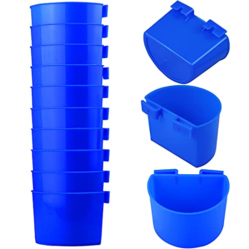 10 PCS Bird Cage Cups Hanging Water Cup Bird Cage Treats Cups Cage Cups for Chickens with Hooks Plastic Feeding & Watering Supplies Feeder Cup for Chicken for Poultry Gamefowl Rabbit Chicken Pigeons