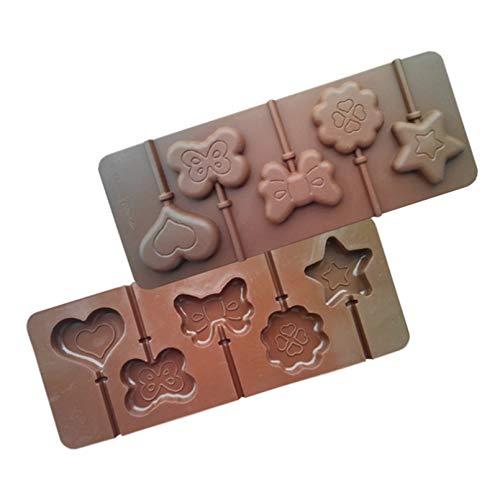 Fewear Moldes para fondant con 5 agujeros, diseño de estrella y corazón en 3D de silicona