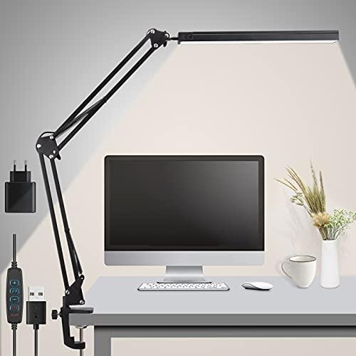 Rigiyoo Lámpara Escritorio LED, 15W Lámpara de Mesa Brazo Oscilante Abrazadera Luz Regulable...