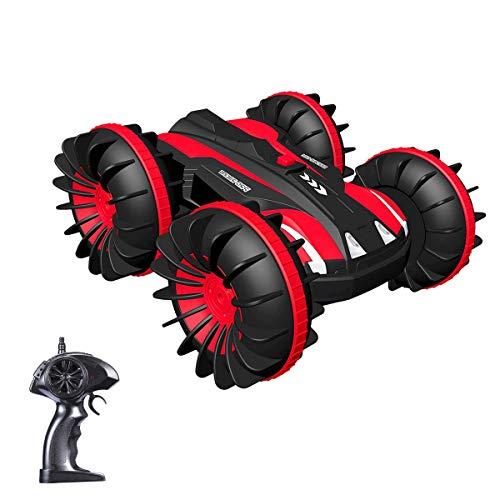 Joyjam Coche teledirigido Anfibio, Stunt Car Impermeable Anfibios con 2 Lados de conducción en Agua y Tierra Coche radiocontrol Electric Juguetes para niños Rojo