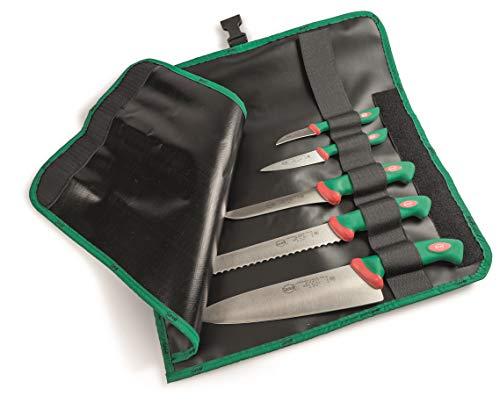 Sanelli Set 5 coltelli Premana Professional Rotolo Cuoco, Cordura, Nero/Verde
