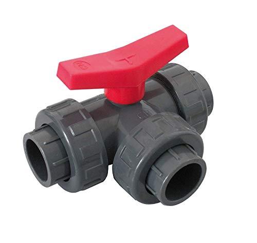 well2wellness® PVC-Kugelhahn 3-Wege Klebeanschluss mit T-Bohrung 50mm (200207)