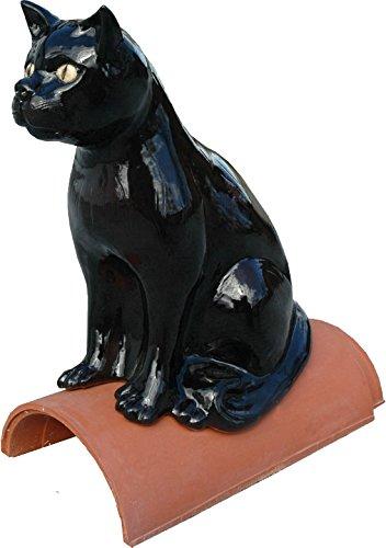 Purr Firstfigur Sitzende Katze aus Keramik schwarz glasiert