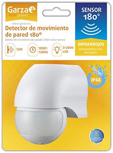 Garza Power - Detector de Movimiento Infrarrojo para pared, Ángulo de Detección 180º, Blanco