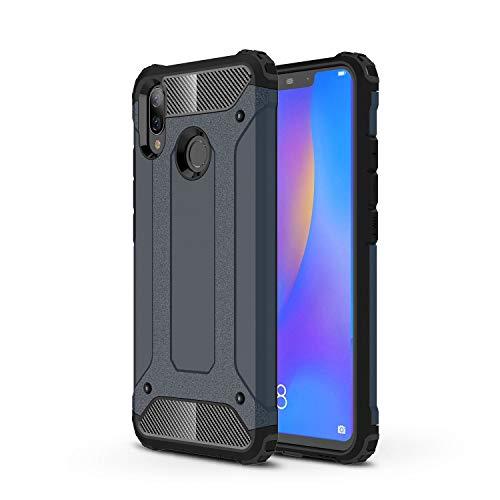 Capa para Huawei Nova 3i híbrida de camada dupla resistente à prova de choque PC e TPU + 1 protetor de tela 9H película de vidro temperado HD transparente azul marinho