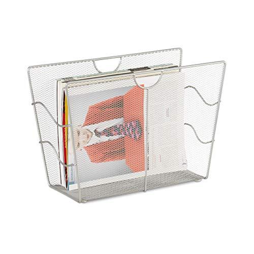 Relaxdays Zeitungsständer Mesh, Zeitschriftensammler Metall, Zeitungshalter stehend, HxBxT: 27 x 39 x 17 cm, silber