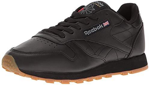 Reebok Women's W Classic Leather Fashion Sneaker, Black/Gum, 5