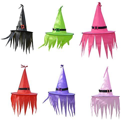 Adornos de Halloween Sombrero de bruja con luz LED Sombrero brillante Decoración de suspensión colgante para niños para exterior, patio, árbol y suministros de Halloween Regalo-6 piezas-B_Sin luz