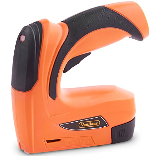 VonHaus Cordless Electric Staple Gun Stapler Tacker Staple & Nail Gun 2-in-1, Rechargeable Li-Ion Battery 3.6V–Includes 1000 Nails & 1000 Staples– for Upholstery, Fabrics, Textiles & Thin Wood