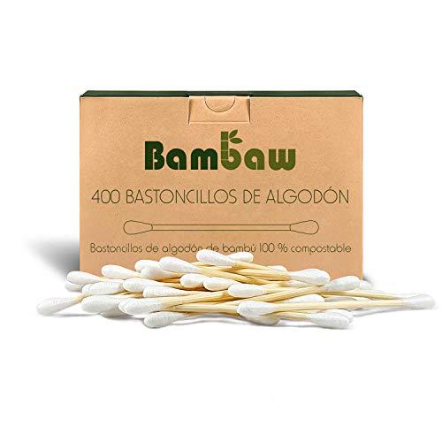 Bastoncillos para Oídos de Bambú | Bastoncillos Ecológicos | Palillos Limpiadores de Oídos | Bastoncillos de Madera | Biodegradables | Bote Dispensador Ecológico | 400 Unidades | Bambaw
