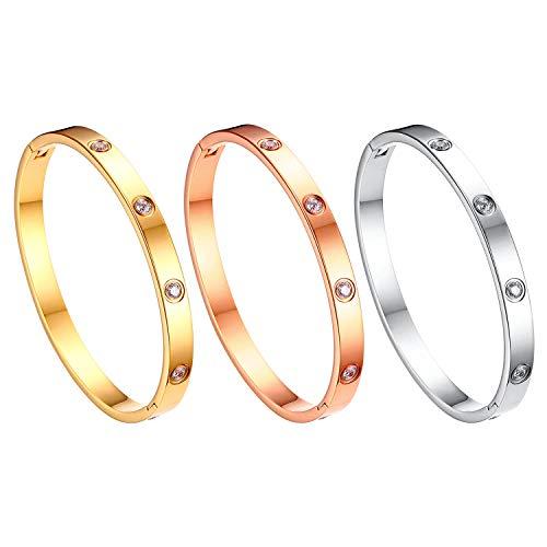 JewelryWe Schmuck 3pcs Damen Armreif Edelstahl Zirkonia einfache Stil Liebe Armband 6mm breit mit Schließe Armspange Gravur Silber Gold Rosegold