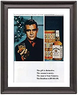 Bourbon Vintage jim - beam - sean - connery - 007 - xmas - Picture Frame 8x10 inches - Poster - Print