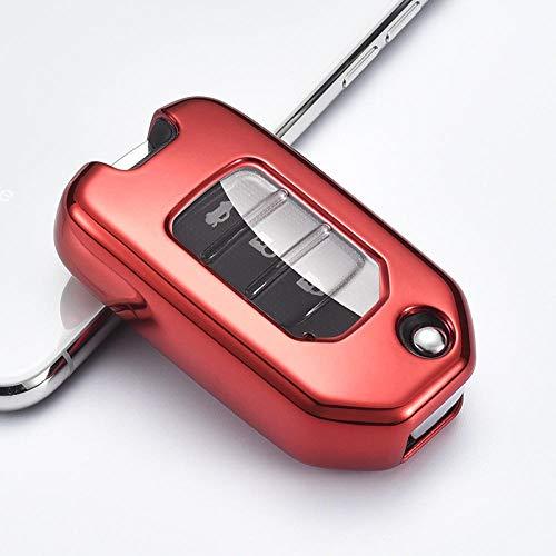 Schlüsselhülle Bunte Harte TPU Auto Smart Key Case Volle Abdeckung für Honda Civic CR-V HR-V Accord Jade Crider Odyssey 2015-2018 Autozubehör-F-rot