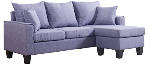 Divano Roma Furniture Modern Sectional, Light Grey