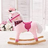 Aaedrag Hohe Qualität Schaukelpferd Trojan Kind Baby Schaukelstuhl Musik-Baby-Spielzeug-Schaukel Car Geburtstagsgeschenk (Color : Pink)