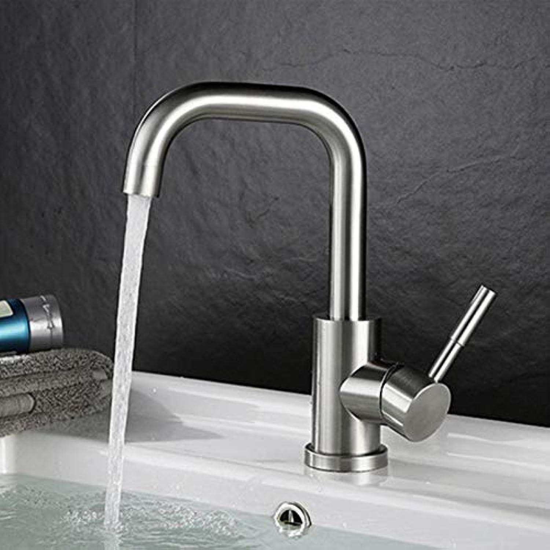 Wasserhahn Einhand-Drehbarer Badezimmerhahn Aus Hochwertigem Edelstahl Waschtisch-Wassermischer