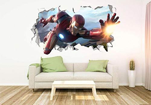 Pegatinas de pared Steel Super Movie Heroe Custom Wall Application 3D Wall Sticker Art80*120CM