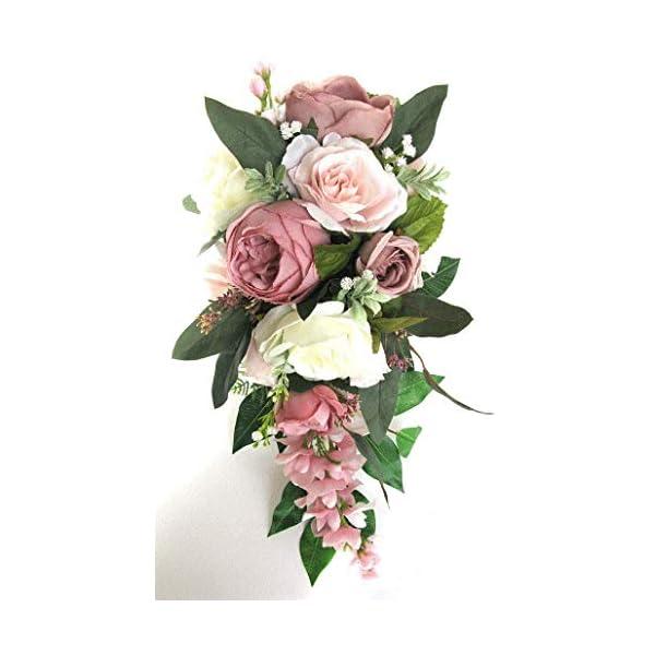 17 Piece Wedding Bouquet Set Bridal Bouquet Package Blush Mauve Pink Dusty Cascade Silk Wedding Flowers Bridesmaid Bouquet RosesandDreams