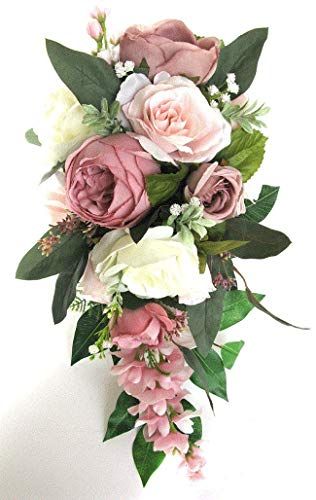 17 Piece Wedding Bouquet Set Bridal Bouquet Package Blush Mauve Pink Dusty Cascade Silk Wedding Flowers Bridesmaid Bouquet RosesandDreams