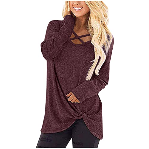 UEsent Camiseta larga para mujer de manga larga, cuello en V, blusa suelta, camiseta larga, Vino, XXL
