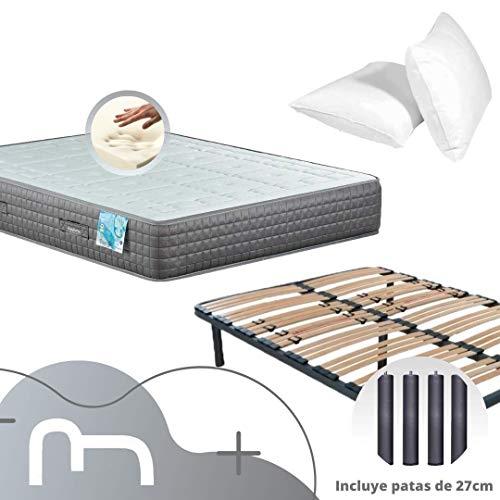 Dulces Sueños Pack COLCHON VISCOELASTICO Premium + SOMIER + Patas + Almohada VISCO (150 x 190 cm)