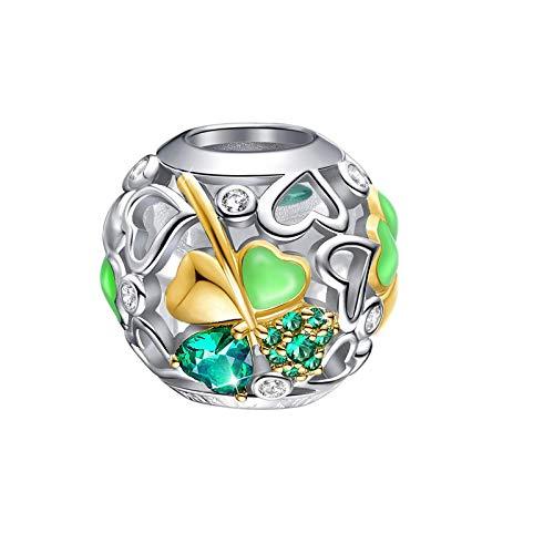 Abalorio de trébol de la suerte para pulseras de plata de ley 925
