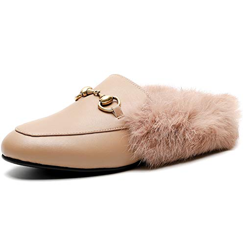 Comfity Mules for Women, Womens Leather Slip On Mule Flats Embroidery Loafers Backless Rabbit Hair Slippers Apricot Fur 8 US