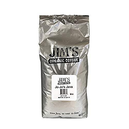 Jim's Organic Coffee – Jo-Jo's Java Blend – Medium / Light Roast, Whole Bean, 5 lb Bulk Bag