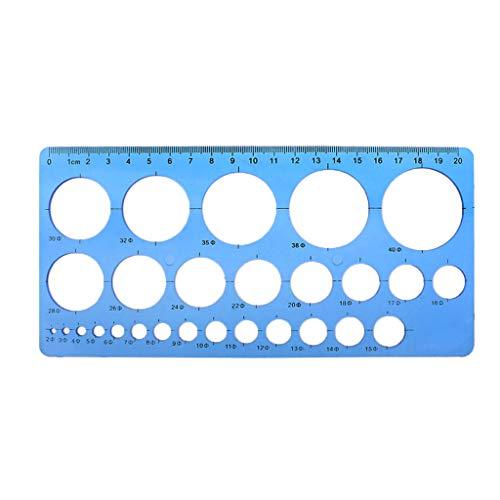 Museourstyty Regla de plástico con círculos geométricos y plantilla de regla, flexible, recta, herramienta de medición de dibujo, suministros de oficina y escuela