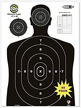 Shooter Win 55 Pack 17X25 inch Premium Heavy Duty Silhouette Range Shooting Paper Targets Shoot for Firearms,Pistols,Rifles,BB Guns,Airsoft Guns,Pellet Guns
