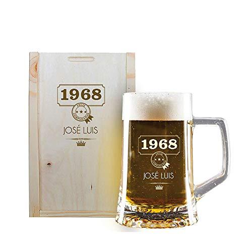 Calledelregalo Regalo Personalizado: Jarra de Cerveza grabada con su Nombre y año...