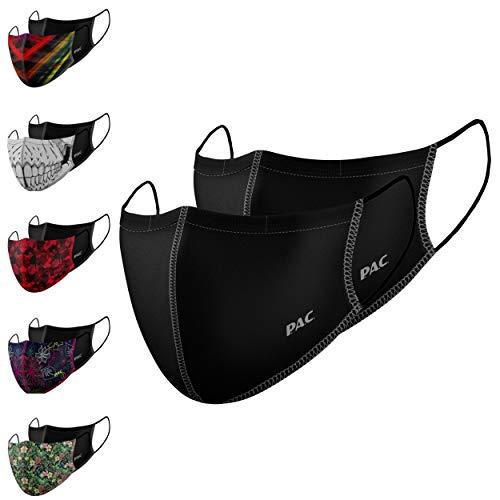 P.A.C. Lightweight 2er-Pack Premium Community-Maske, Mund- & Nasenmaske, Behelfsmaske, superdünne Alltagsmaske, Waschbar bis 90°, Einfach aufziehen, OEKO-TEX 100, Wiederverwendbar