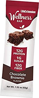 Life Extension Wellness Chocolate Brownie, 1.52 oz Bars (12Count)