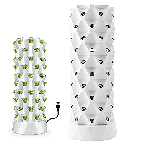 ZXMT 80 Pots Hydroponics Tower Aquaponics Grow System Garden Tower Aeroponics Growing Kit for Indoor & Outdoor - Herbs, Fruits and Vegetables - Hydrating Pump, Timer, Adapter, Seeding Bed & Net Pots