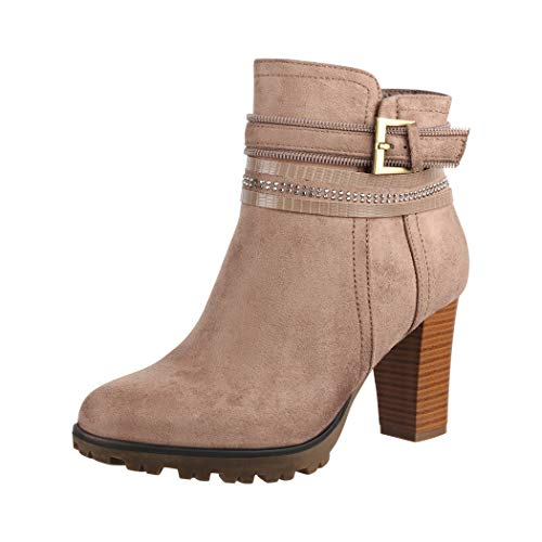 Elara Damen Stiefelette Ankle Boots Chunkyrayan 2018 C292-1-Khaki-38
