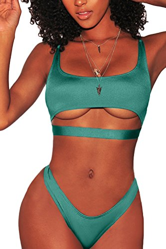 FAFOFA Bikini Swimsuit for Women Low Scoop Neck Crop Top + High Cut Brazilian Bottom Ribbed 2PCS Bathing Suit Green S