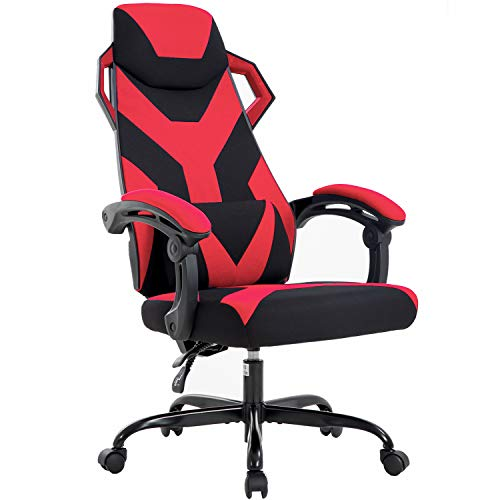 Gaming Chair Office Chair Desk Chair with Lumbar Support Arms Headrest Ergonomic Executive Swivel Rolling Modern High Back Racing Computer Chair for Adults Girls Women,Red chair gaming red