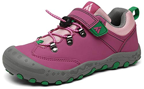 Mishansha Unisex Wanderschuhe Jungen Kinderschuhe Outdoor Mädchen Trekkingschuhe Atmungsaktiv Junge Schuhe Klettverschluss Sneaker rutschfest Walking Rosa, 25 EU