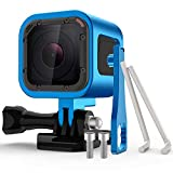 Nechkitter Aluminum Frame Housing Case for GoPro Hero 5 Session / 4 Session/Hero Session, CNC Aluminum Alloy Solid Protective Case with Wrench –Blue
