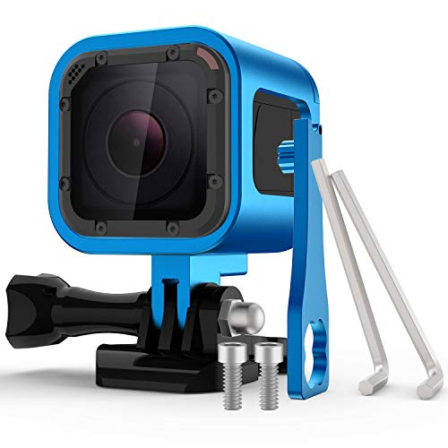 Nechkitter Aluminum Frame Housing Case for GoPro Hero 5 Session / 4 Session/Hero Session, CNC Aluminum Alloy Solid Protective Case with Wrench Blue