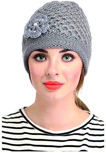 DIGITAL SHOPEE Stylish Soft Quality Winter Warm Woolen Cap for Women/Girls/Ladies - (Grey)