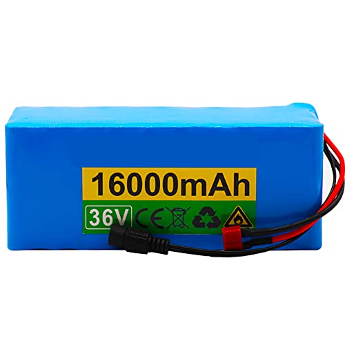 Paquete Baterías Iones Litio 36 V 16000 Ah Batería Litio 10S4P 18650 Adecuado para Motores 500 W Batería con Placa Protección BMS + Cargador