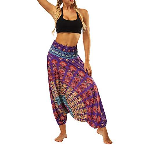 Boho Harem Pantaloni -Pantaloni larghi di yoga allentati estate delle donne pantaloni della tuta Aladdin dei Boho-yoga skinny workout athletic Pantalone -Plus Size Pantalone(viola,Taglia unica)