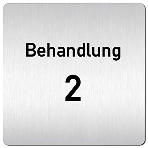 Kinekt3d Leitsysteme XXL Schild - Türschild • 125 x 125 mm • Behandlung - Behandlungsraum 2 • 1,5 mm Aluminium Vollmaterial • 100% Made in Germany