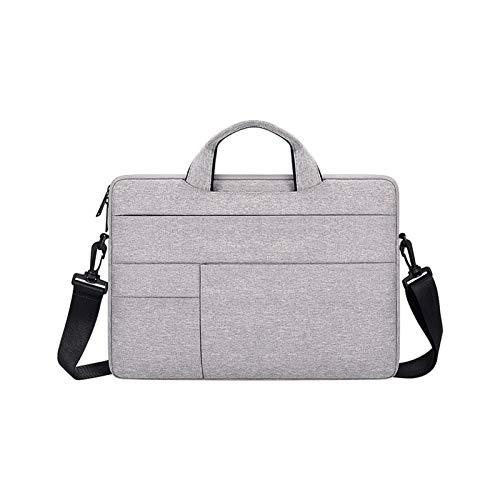Bolsa para ordenador portátil de 13,3/14,1/15,6 pulgadas, funda para ordenador MacBook, bolso Shouder, maletín de viaje (color gris con correa, tamaño: 14,1 pulgadas)