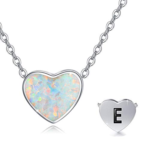 Opal Heart Initial Necklace 925 Sterling Silver Alphabet Pendant Letter E Necklace for Women Tiny Initial Heart Pendant Choker Necklace for Women Girls