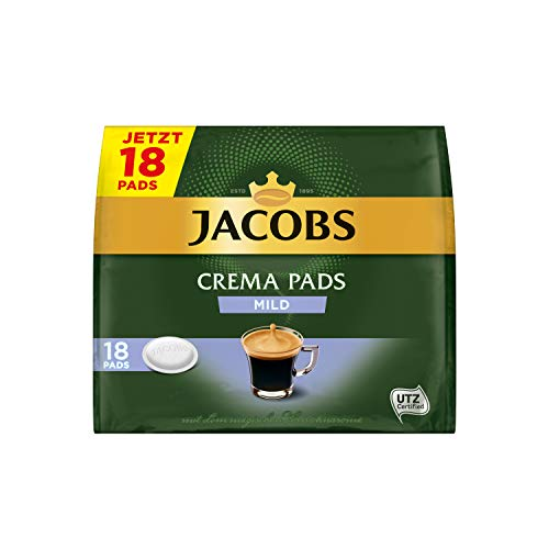 Jacobs Pads Crema Mild, 90 Senseo kompatible Kaffeepads UTZ-zertifiziert, 5er Pack, 5 x 18 Getränke