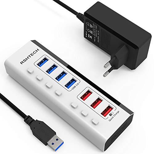RSHTECH USB Hub Aktiv 3.0 mit 36W (12V / 3A) Netzteil 7-Port USB 3.0 Hub mit Schnellladung(4 USB 3.0 Datenübertragungsanschluss, 3 Schnellladeanschluss) mit Einzelner Schalter, LED, Weiß (RSH-A37)
